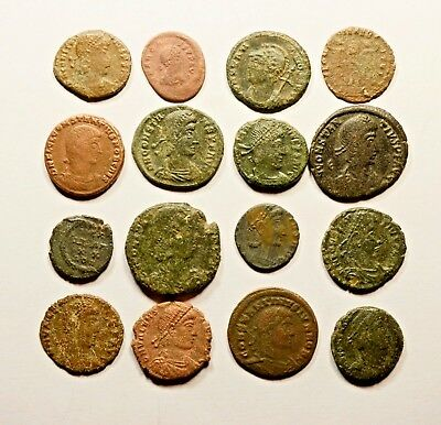 Lot Of 16 Imperial Roman Bronze Coins For Identifying - 047