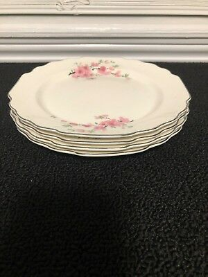W S George White Lido Peach Blossom Platinum set of 4 lunch plates pre-owned