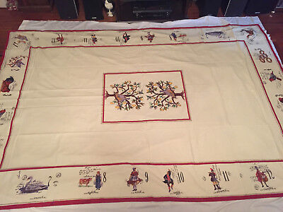 70 X 108 Williams Sonoma Cotton 12 Days of Christmas Tablecloth Red Border