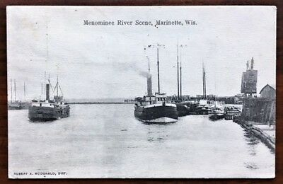 MARINETTE, WISCONSIN: View of Steamships on the Menominee River, 1911 pmk