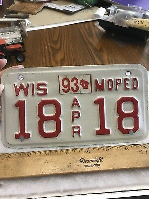 1989-93 Vintage Wisconsin Moped Double # 18 18 License Plate White/red