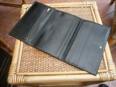 Good Quality Vintage Old 1970S Very Large Size Black Calf Leather Jacket Wallet
