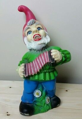 Vintage ZEHO Blue Eyes Garden Gnome Singing & Playing Accordion ~ West Germany