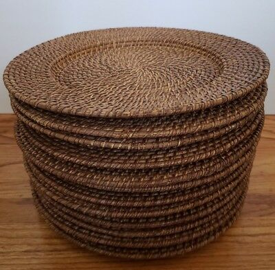 Set Of 12 Wicker Charger Plates Woven Round 13 75 Diameter