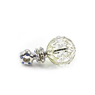 Baby Infant Boy Girl Silverplated Pink/Blue Crystal Rattle Keepsakes Christening