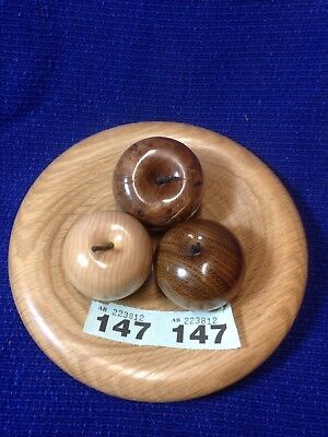 3 Wooden apple,wooden fruit  anniversary gift With Oak Bowl AB147/S2