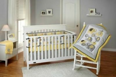 Little Bedding by NoJo Elephant Time 4-Piece Crib Bedding Set Yellow NEW BEDDING