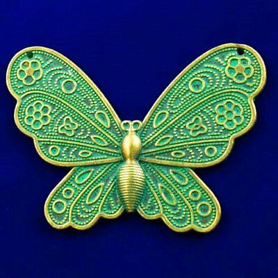 Carved Brass Bronze Butterfly Pendant Bead 59x43x3mm L90175