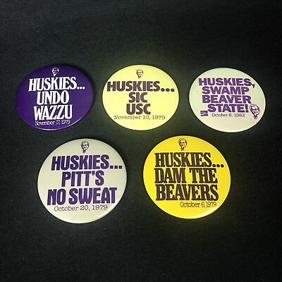 Vintage University of Washington UW Huskies Pin Button 1970s 1980s KFC Lot of 5