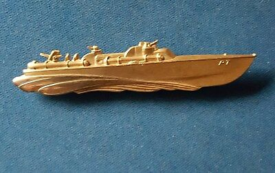 PT Boat Elco Naval Division WWII PT Boat pin, gold colored finish