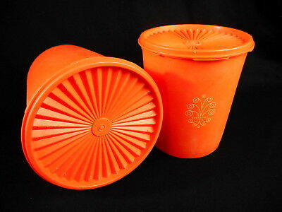 Tupperware Vintage Orange Canisters with Lids