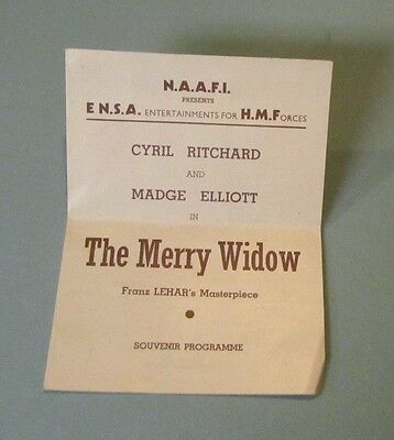 1945 WWII ENSA His Majesty's Forces The Merry Widow Program Madge Eliott British
