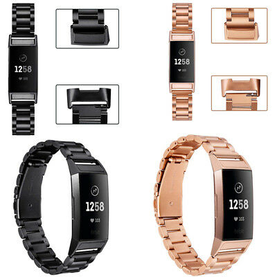 Replacement For Fitbit Charge 3 Stainless Steel Watch Band Metal Strap Bracelet
