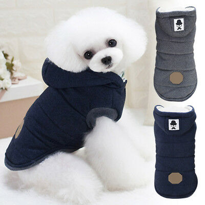 Small Dog Cat Cold Winter Warm Cosy Hooded Jacket Coat Puppy Clothes Windproof