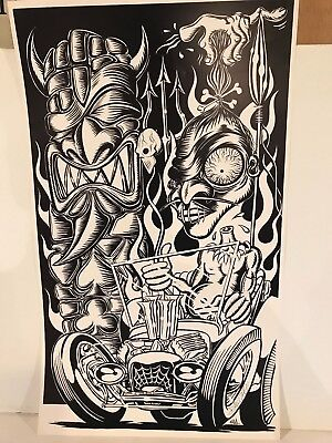 Signed Dennis Mcphail Tiki  Black And White  Poster 22 X 13 Inches