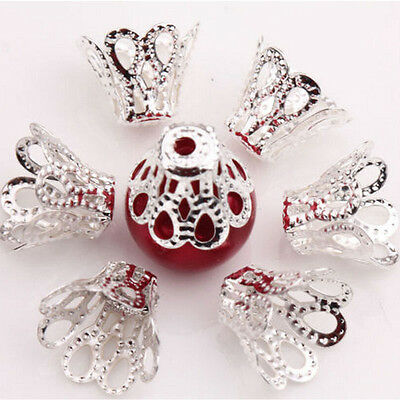 100 Pcs Filigree Flower Cup Shape Silver Loose Bead Caps for Jewelry Making Rh