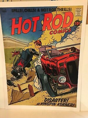 "Jeff Norwell ""disaster At Kingpin Korner Poster 24 X 18 Inches Hot Rod Art"