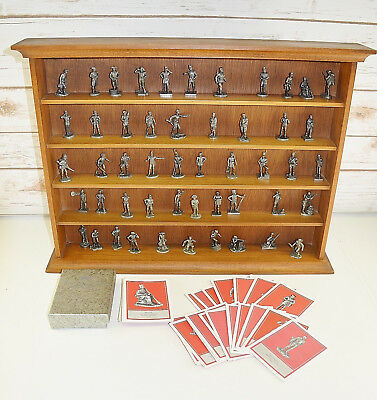 "Franklin Mint ""Fighting Men Of America"" 50 Pewter Figures W/ Cards & Display"
