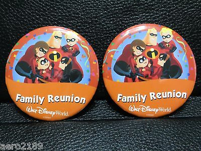 """Walt Disney World - 2 """"Family Reunion"""" button pins with the Incredibles"""