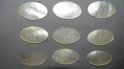 12 EARLY 20th CENTURY CHINESE MOTHER OF PEARL GAMING CHIPS