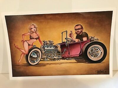 "Signed 2014 Keith Weesner No Goodniks Poster 11"" X 17"" Hot Rod Art"