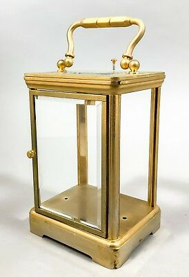 Antique tall brass mantel carriage clock case bevelled glass vintage parts
