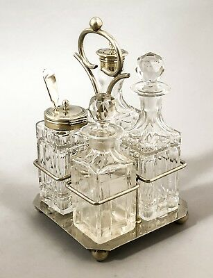 Art Deco silver plate 4 cut-glass bottle cruet condiment set mustard square base