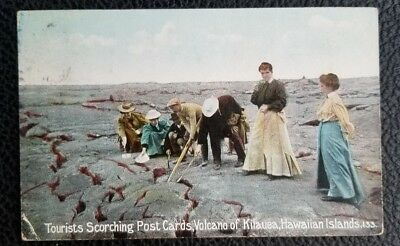 1910 Vintage Private Postcard~Hawaii~Kilauea Volcano~Tourists Scorching Postcard