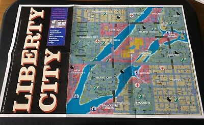 Grand Theft Auto Liberty City & San Andreas Map PlayStation PS1 - Map Only