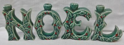 Vintage Holly & Red Berries On NOEL Letters Candle Holders w/Org Box