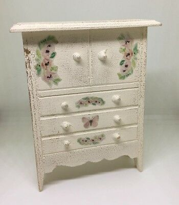 1:12th Dolls house furniture. Shabby chic style cream large chest of drawers