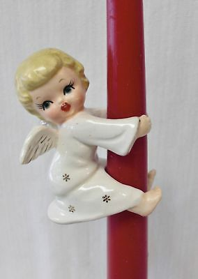 Vintage Single Blond Angel Girl In White Starry Robe Candle Hugger/Climber