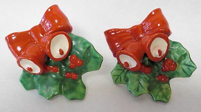 Vintage Christmas Traditional Bells, Bows & Holly Boughs Candle Hugger/Climbers