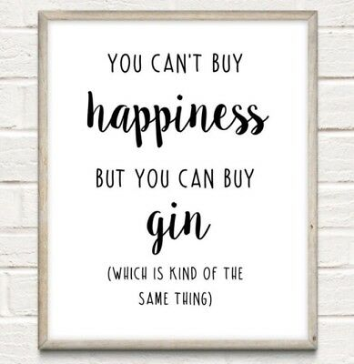 Week Days Gin Print Poster Alcohol Funny Love Unframed Home Kitchen Quote Gift