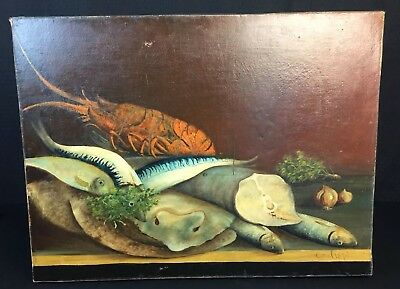 Antique 19th Century France Still Life Oil Painting Of Fish Signed Dated 1848