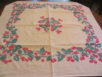 Vintage heavy cotton tablecloth pink cherries