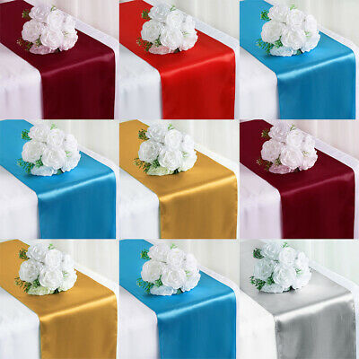 20pcs Wedding Party Satin Table Runner Banquet Dinner Party Tablecloth 30x275cm