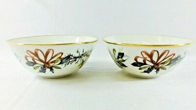 """Lenox Winter Greetings Round Dipping Fruit Bowls 4 1/2"""" Near Mint (Set of 2)"""