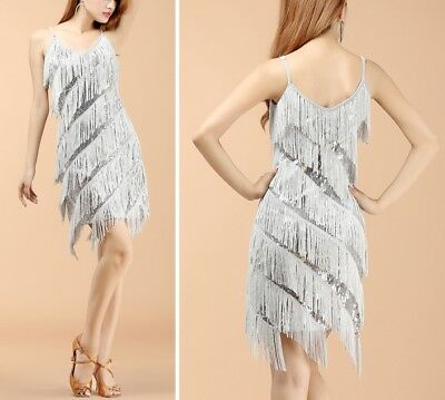 Women Sequins Sexy Tassel Latin Dance Costume Fringed Cocktail Party Short Dress