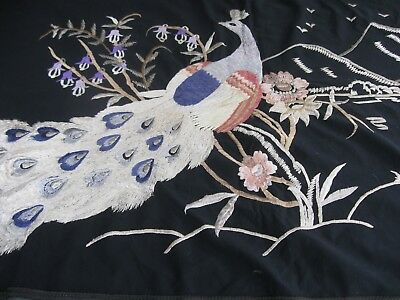 Large 140 x 81cm JAPANESE SILK machine EMBROIDERED Wall Hanging PEACOCK Mountain
