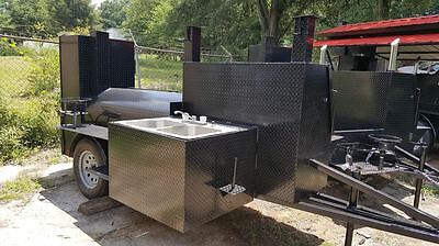 Sink Setup BBQ Smoker Grill Trailer Catering Business Mobile Kitchen Food Truck