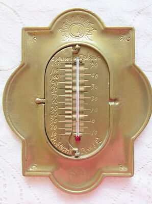 Brass Thermometer in Celsius, Fahrenheit and Reaumua Vintage Collectible