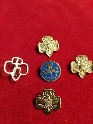 Lot Of 5 Vintage Girl Scout Pins
