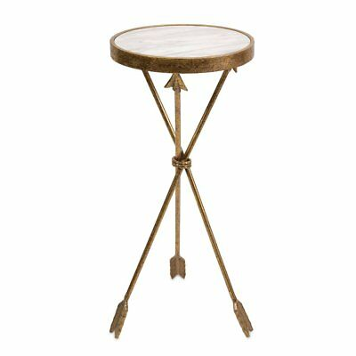 Arrow Marble Top Table, Mottled gold finish