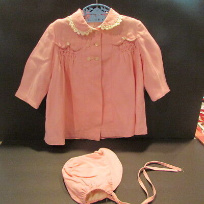 Vintage Baby Girl Pink Coat And Matchimg Bonnet 12-24 Months Kute Kiddies 1950's