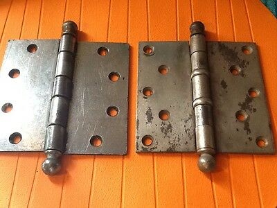 """Pair Antique 5"""" Steel Thrust Bearing Cannonball Tip Door Hinges Early 1900's"""