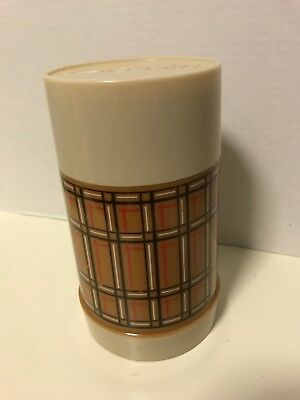 Retro Aladdins Best Buy Pint Thermos Bottle Cup Brown Tan Plaid Insulated Vtg