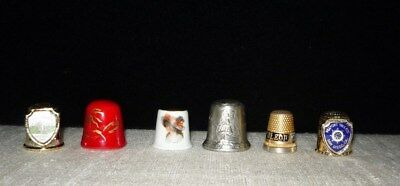 Lot of 6 different thimbles from a collector: brass, pewter, china