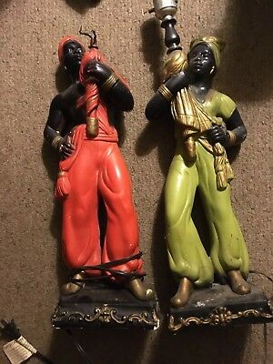 Pair Of Early 20th Century African American Lamps. Check Pics For Condition.