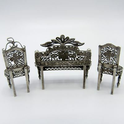 Antique Wire Work Sterling Miniature Couch and Chairs, Doll House, Dollhouse